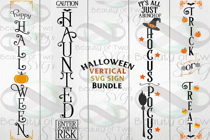 Halloween Vertical svg Sign Bundle, 4 Halloween svg designs
