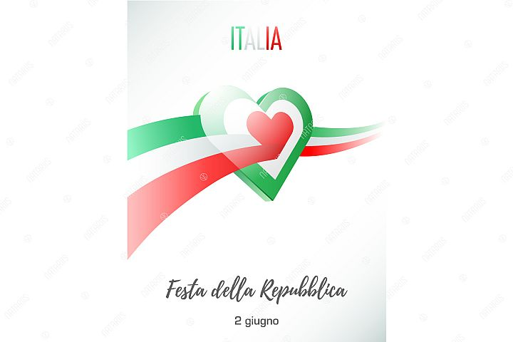 June 2. Republic day of Italy. Greeting card.