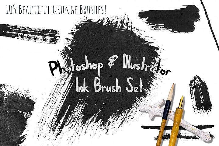 Black Ink Brushes for Adobe Photoshop and Adobe Illustrator