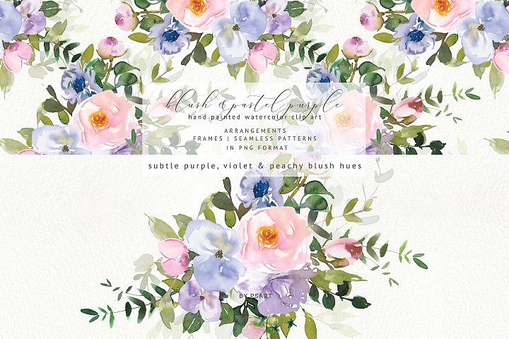 Watercolor Blush Purple Floral Clipart Collection