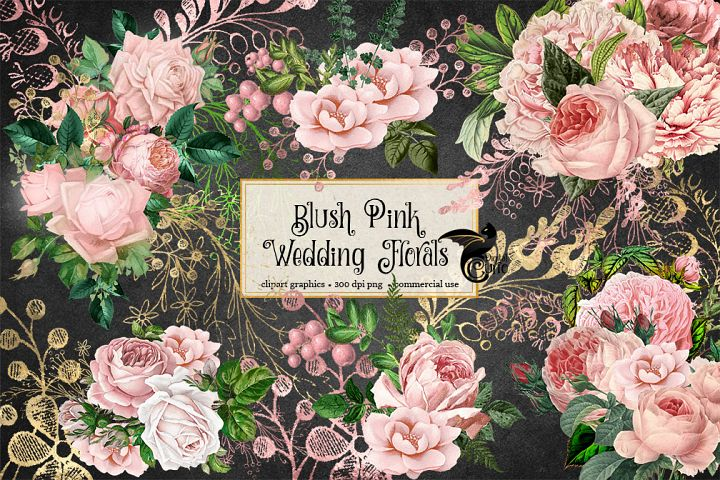 Blush Pink Wedding Floral Clipart - Free Design of The Week Design1