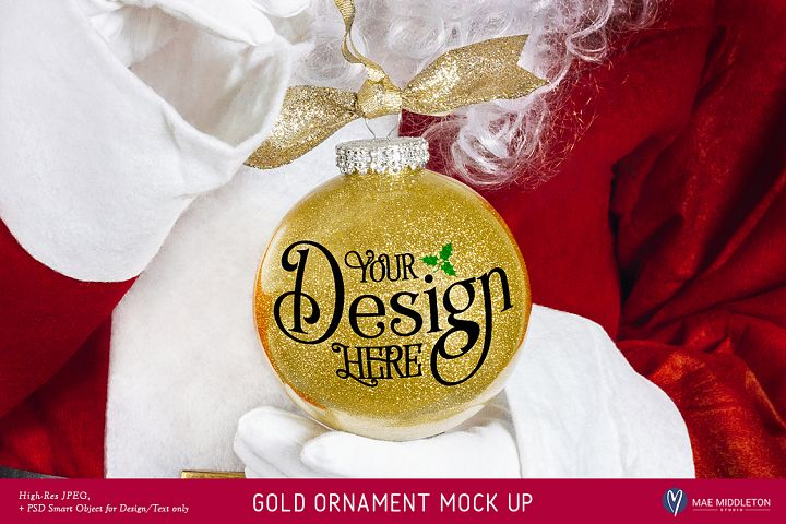 Christmas Mock up - Santas Gold Glitter Ornament