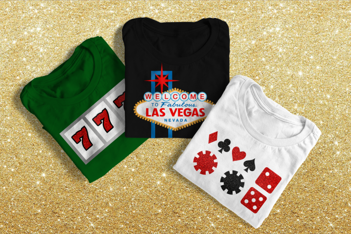 Vegas Sign and Gambling Icons SVG File Cutting Template Set