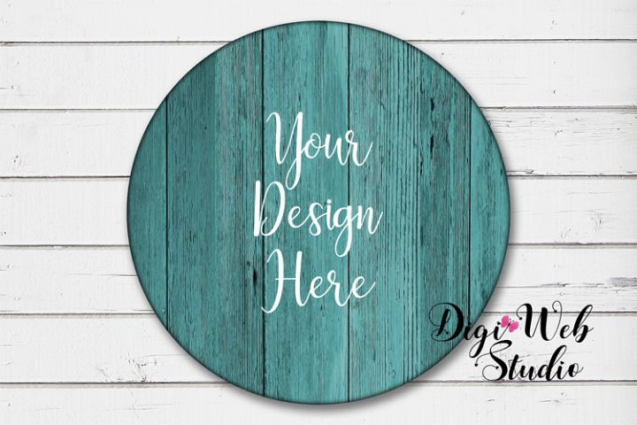 Wood Sign Mockup - Round Teal Wood Sign on White Shiplap