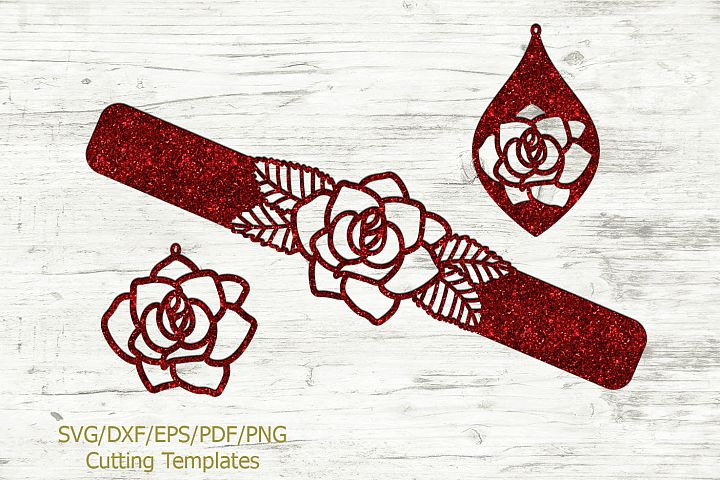 Rose Set of Cuff Bracelet and Earrings svg laser templates