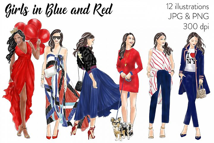 Fashion illustration clipart - Girls in Blue and Red