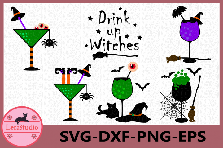 Drink Up Witches Svg, Halloween Glass Svg,Bloodshot Eyeballs