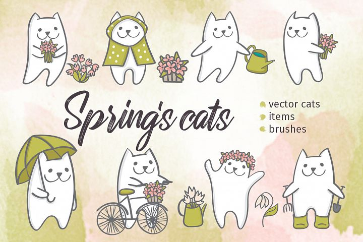 Springs cats. Vector set.