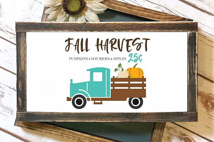 Fall Pumpkins Vintage Truck SVG and EPS Silhouette Files