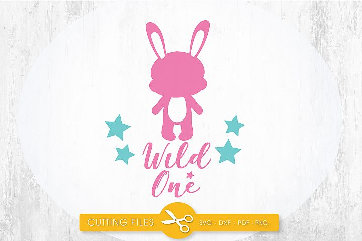 wild-one-bunny cutting files svg, dxf, pdf, eps included - cut files for cricut and silhouette - Cutting Files SG