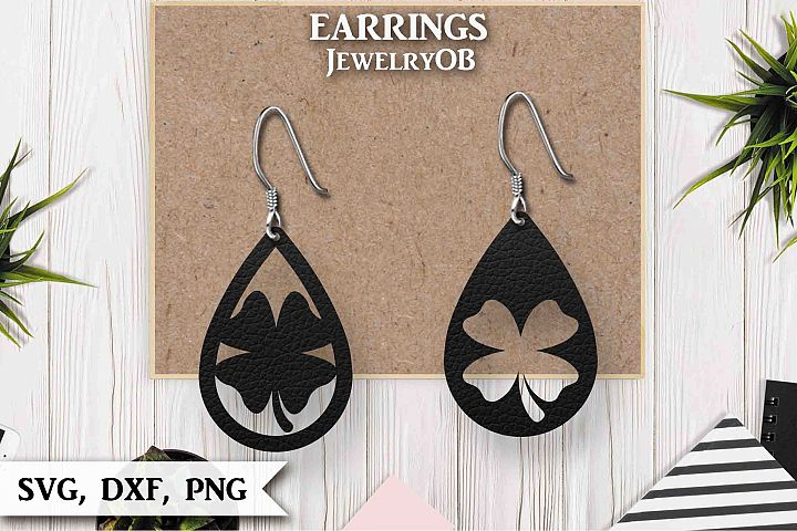 Clover Earrings, Cut File, SVG DXF PNG, Teardrop