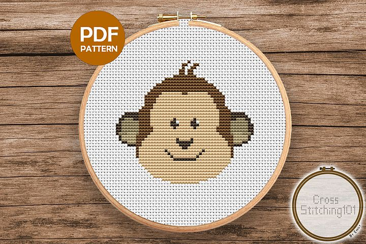 Cartoon Monkey Face Cross Stitch Pattern - Instant Download