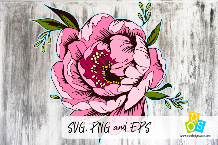 Vintage Peony Flower SVG, PNG and EPS
