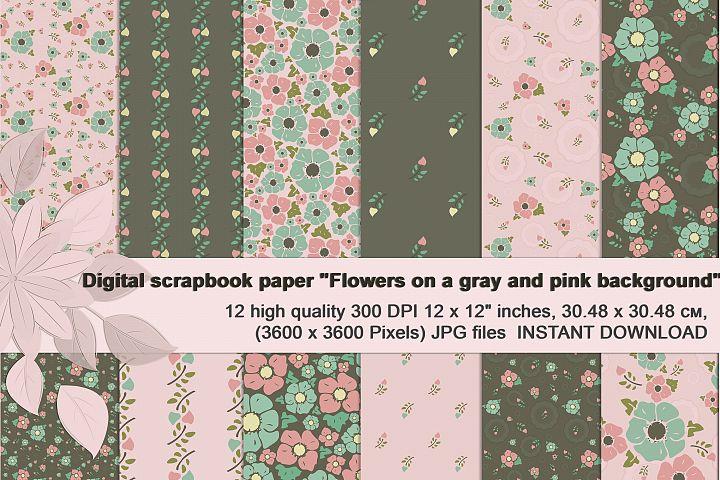 Vintage flowers, Gray and Pink Digital Paper
