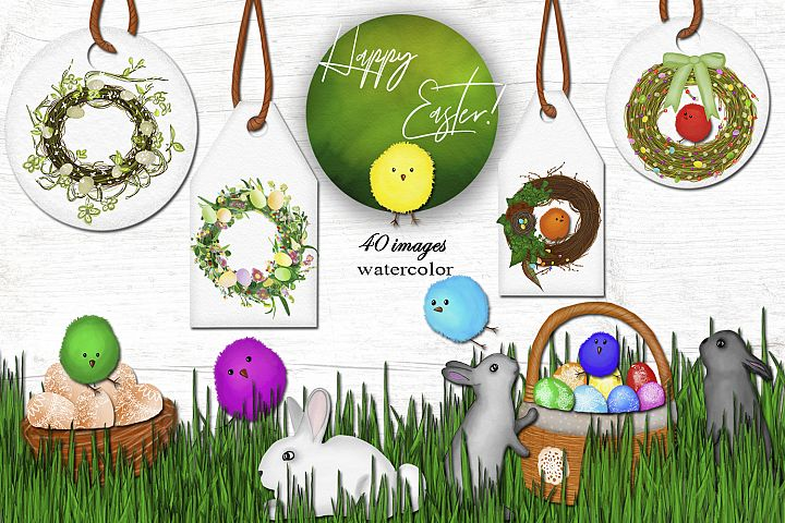 Easter ! Happy spring! Watercolor set.