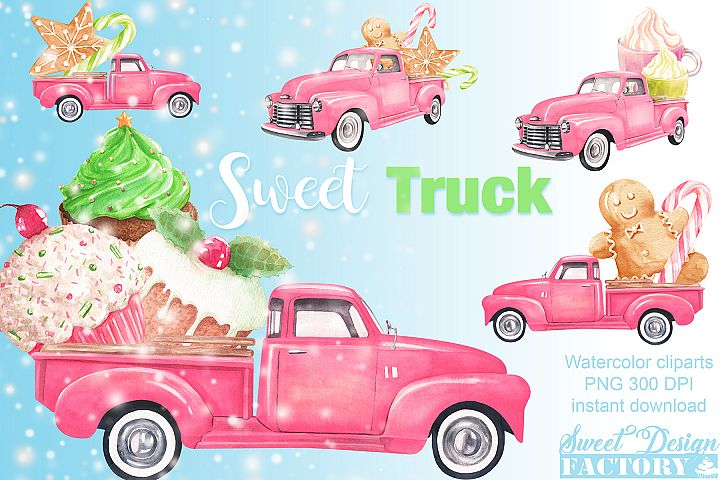 Watercolor Christmas pink pick-up cliparts