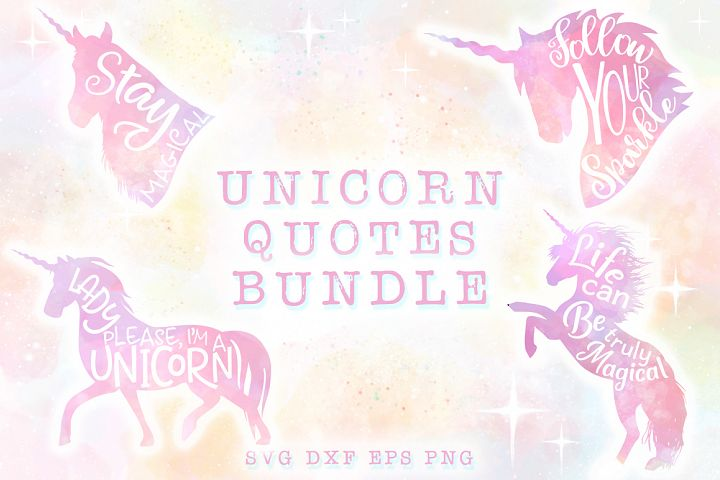 10 Unicorn Quotes SVG Cut Files Pack