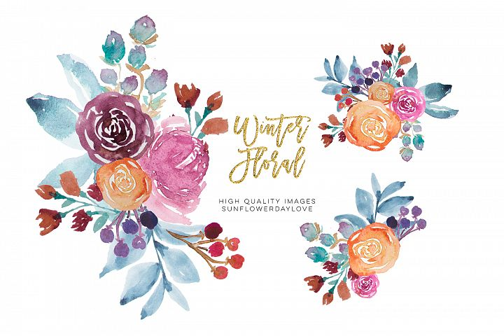 Winter Watercolor Flowers Clipart, Winter Floral Clipart