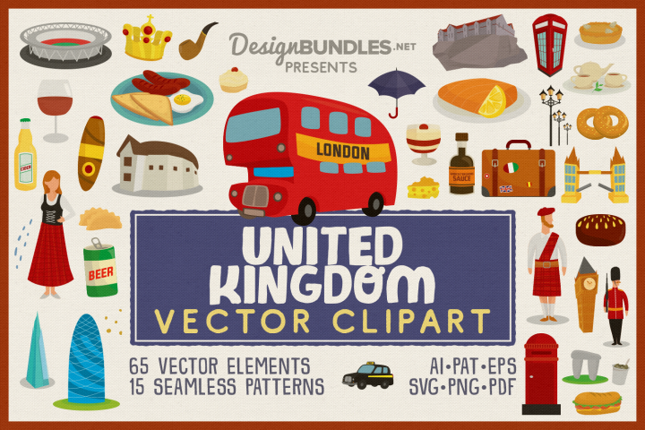 UK Icons Vector Clipart and Seamless Pattern