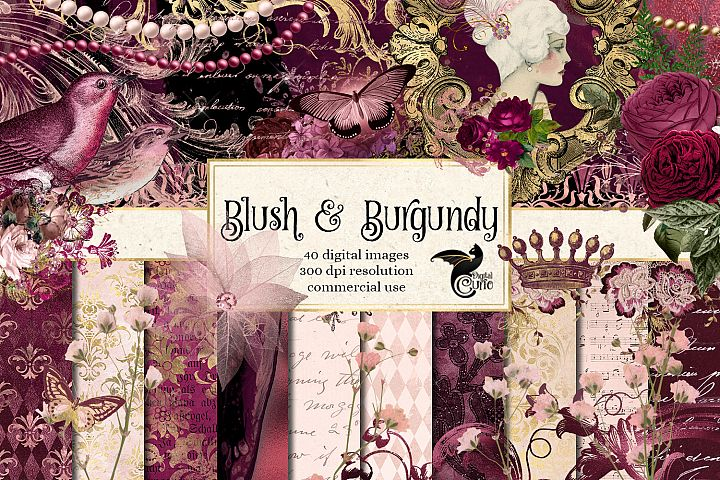 Blush & Burgundy Digital Scrapbooking Kit