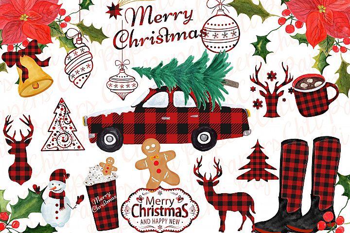 Christmas clipart Christmas car,Buffalo Plaid Lumberjack