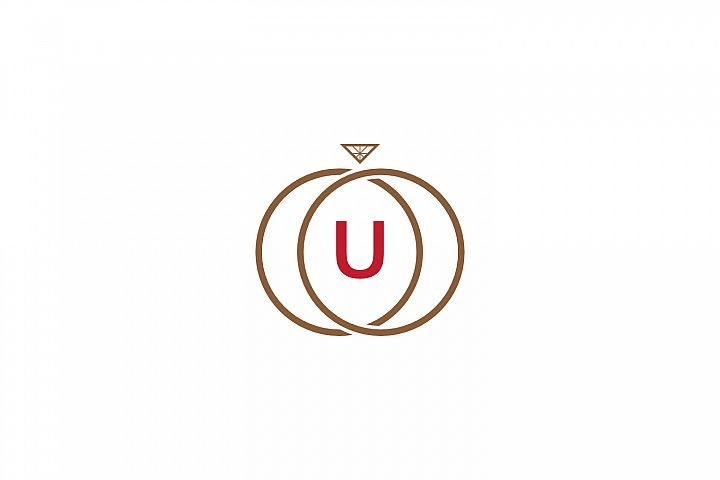u letter ring diamond logo