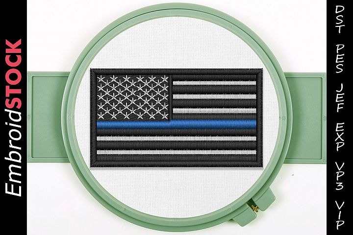 Thin Blue Line Embroidery Design
