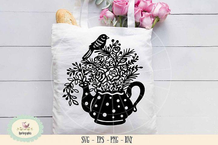 Tea pot bird paper cut SVG PNG