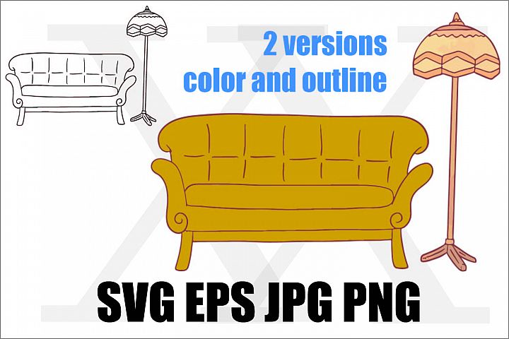 Sofa with lighting - SVG EPS JPG PNG