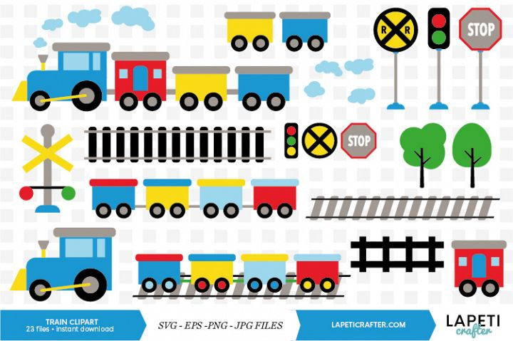 Train clipart, 23 digital clipart, SVG, EPS, JPG, PNG files