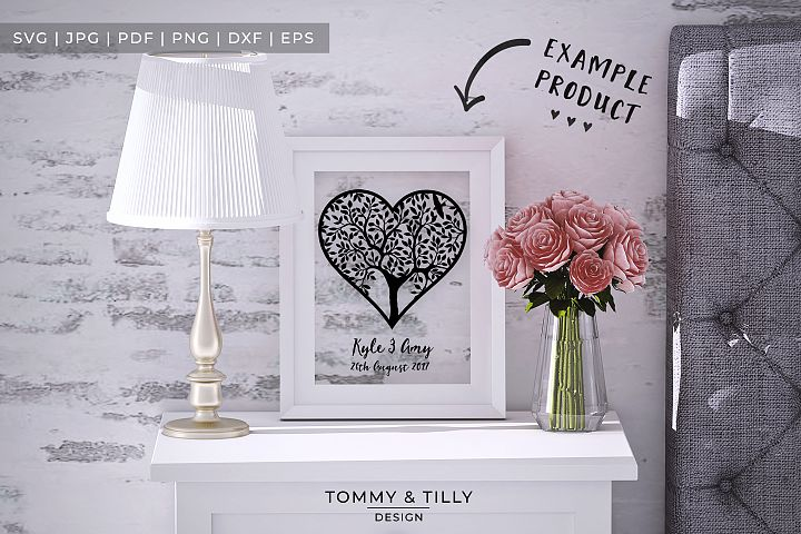 Heart Tree - Papercut Template SVG EPS DXF PNG PDF JPG example 2