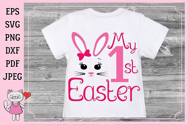 My First Easter SVG, Bunny girl toddler, Bow Silhouette