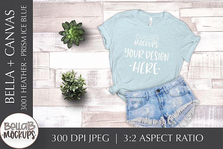 Bella Canvas 3001 Heather T Shirt Mockup, Prism Ice Blue
