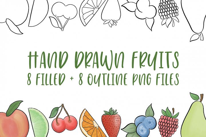 Hand Drawn Fruit Illustrations, PNG Files