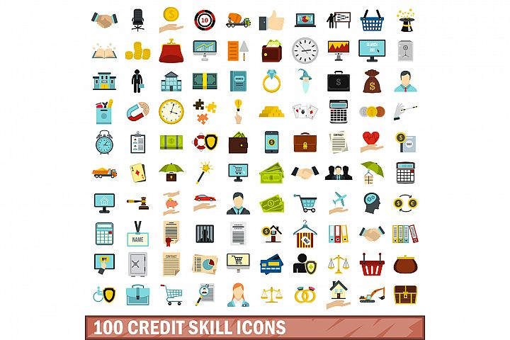 100 credit skill icons set, flat style