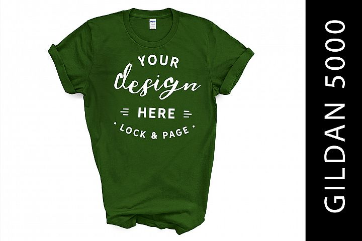 Turf Green Gildan 5000 TShirt Mockup On White Background