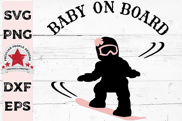 Baby On Board Snowboarder Girl Car Decal SVG Gender Reveal