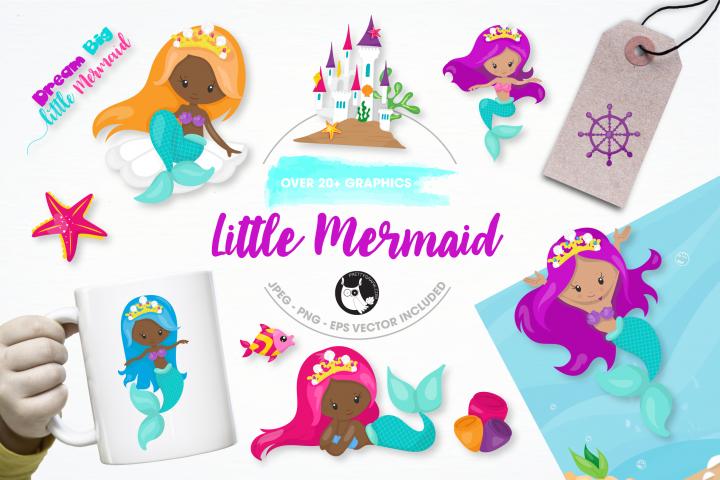 little mermaid graphics and illustrations