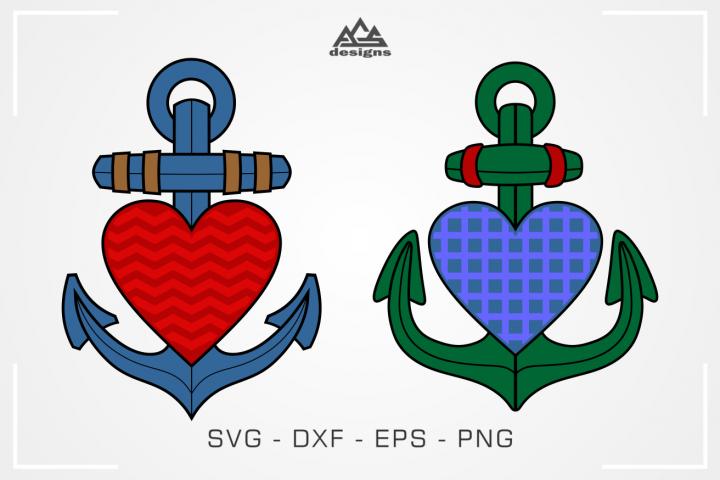 Anchor Sailor Heart Love Svg Design