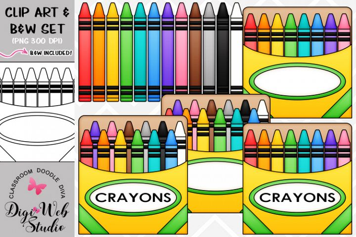 Clip Art / Illustrations - Colorful Crayons