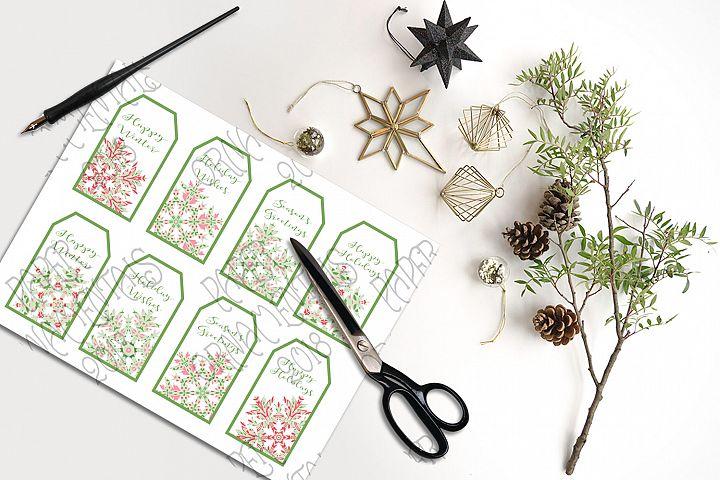 Christmas Gift Tags, Christmas Pink & Green Snowflakes
