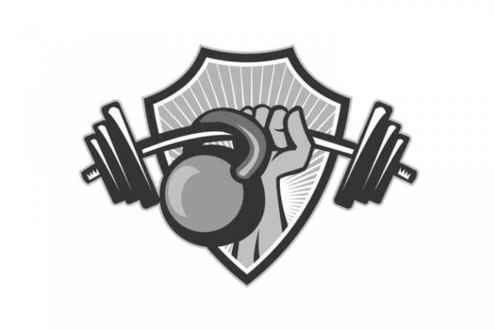 Hand Lifting Barbell Kettlebell Crest Grayscale