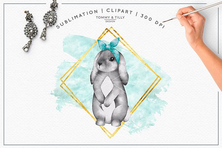 Geometric Frame Bunny - Sublimation PNG Clipart
