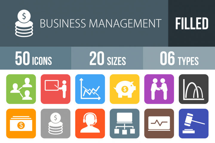 50 Business Management Filled Round Corner Icons