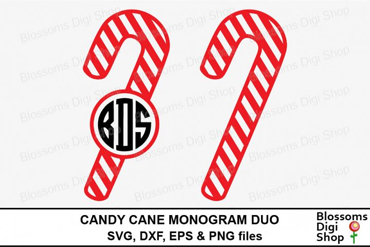 Candy Cane Monogram Duo Cut Files