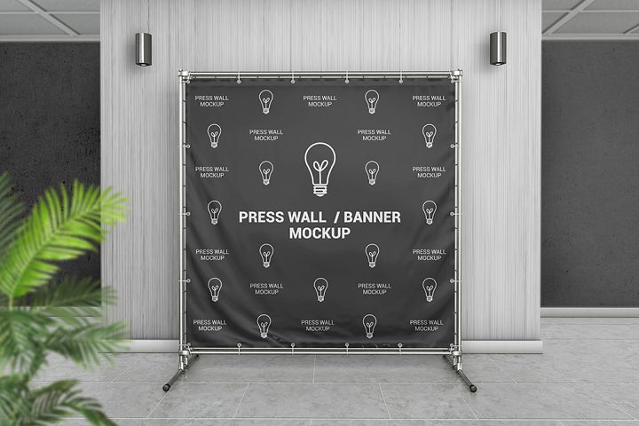 Square Press Wall / Stand Banner Mockup