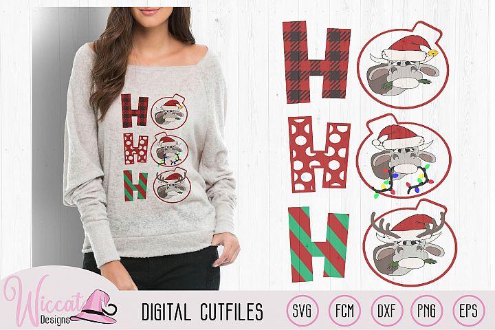 Ho Ho Ho Christmas Heifer cut file, cow with christmas light example image 2