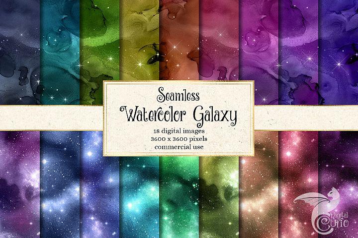 Seamless Watercolor Galaxy Textures