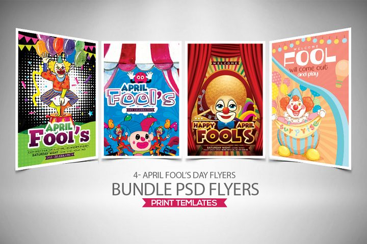 4 April Fool Party Flyers Bundle