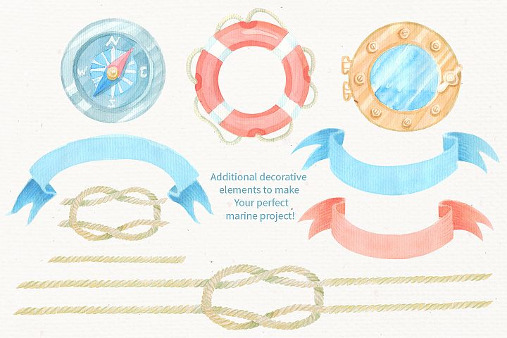Nautical watercolor clipart collection - Free Design of The Week Design2